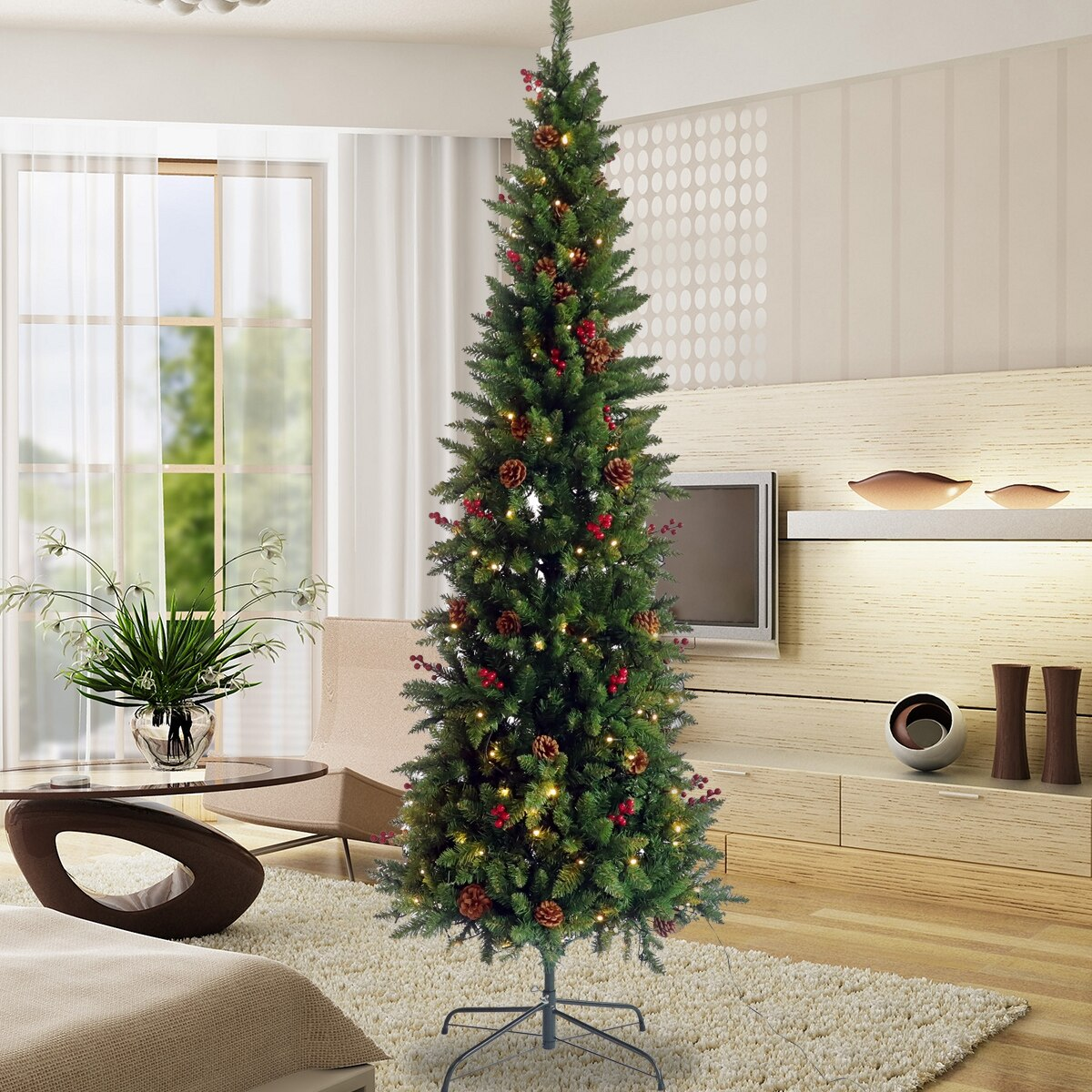 Vinsic Christmas Tree Artificial Slim Christmas Tree With 300 Warm White Lights Pre Lit Pencil Feel Real Skinny Fir Tree With Cones And Berries 7 5ft With Foldable Metal Stand Walmart Com Walmart Com