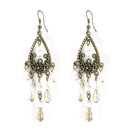 Teardrop Shape Earrings (Woman Bronze Tone White Beads Teardrop Shape Ear Hook Earrings Ornament Pair )
