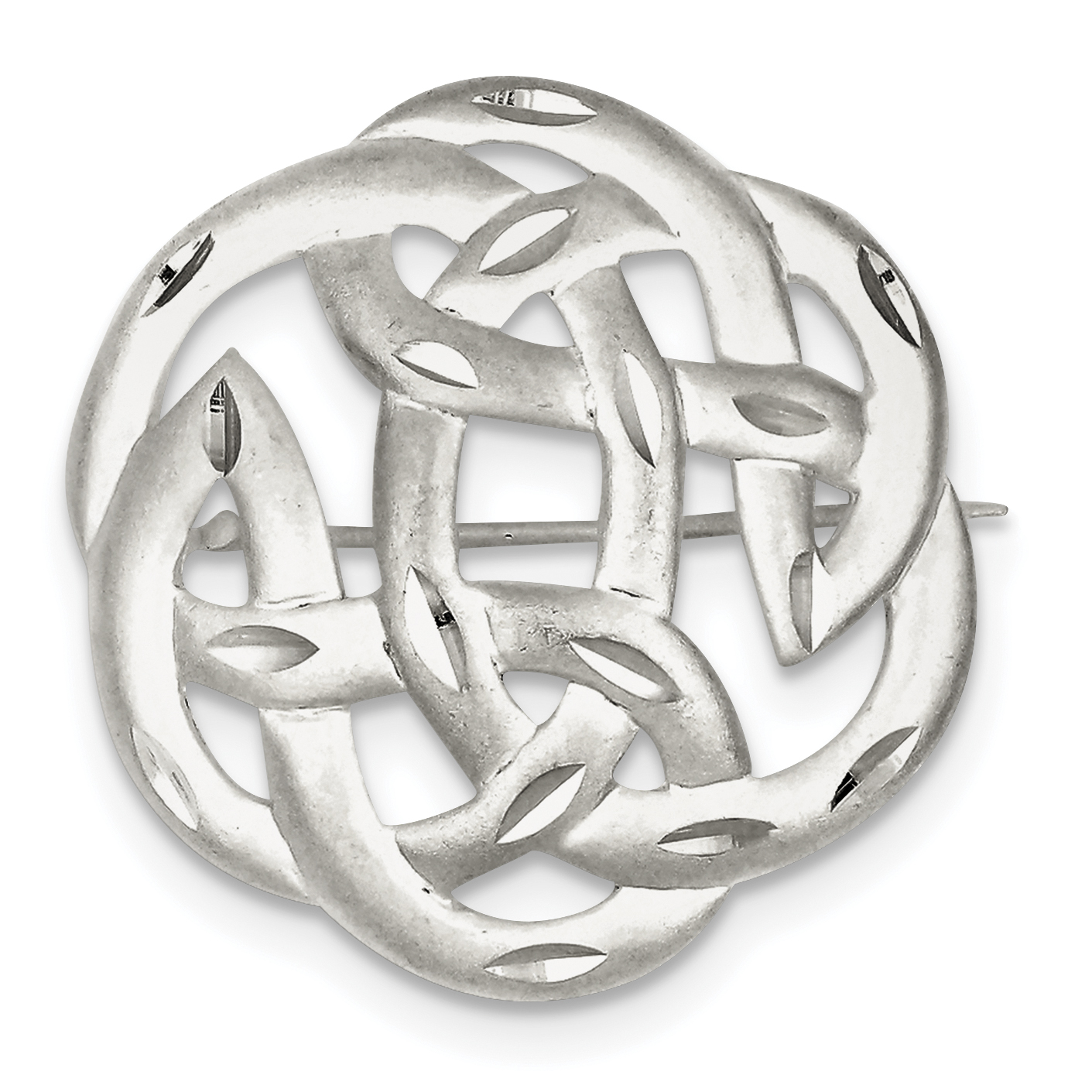 Roy Rose Jewelry Sterling Silver Satin Finish Diamond Cut Celtic Knot Pin by