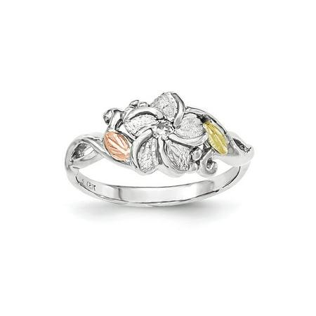 Black Hills Gold Sterling Silver Ring - Landstrom's Black Hills Sterling Silver and 12K Gold Accent Flower Ring, Size 8