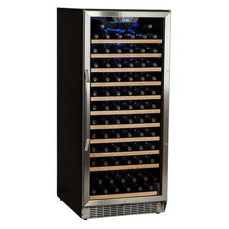 EdgeStar 121 Bottle Single Zone Built-In Wine Cooler - Stainless Steel and Black (Extra Large Fridge)