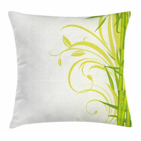 Green Throw Pillow Cushion Cover, Bamboo with Artistic Floral Curly Leaves Asian Feng Shui Zen Garden, Decorative Square Accent Pillow Case, 18 X 18 Inches, Lime Green Pale Green White, by Ambesonne