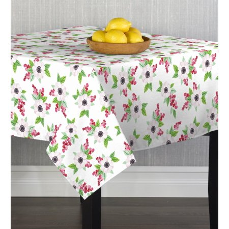 """Fabric Textile Products Floral Dogwood & Leaves Tablecloth 60""""x60"""""""