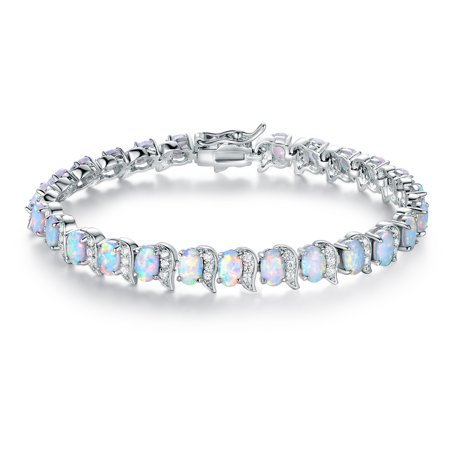 Lab Created Opal Bracelet (Rhodium Plated Lab-Created Fire Opal Tennis)