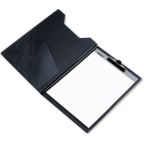 Samsill Value Padfolio with Clipboard, Clip Folder for 8.5 x 11 Writing Pad, Black