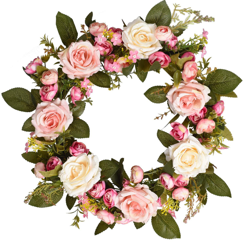 Coolmade 13'' Artificial Rose Flower Wreath, Floral Door ...