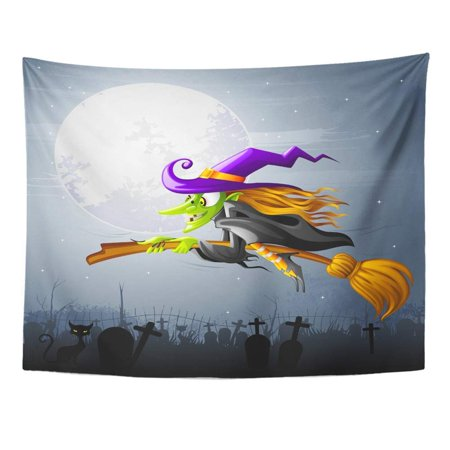 ZEALGNED Character Halloween Witch Flying Over Graveyard Fantasy Moon Wicked Hat Girl Wall Art Hanging Tapestry Home Decor for Living Room Bedroom Dorm 51x60 inch