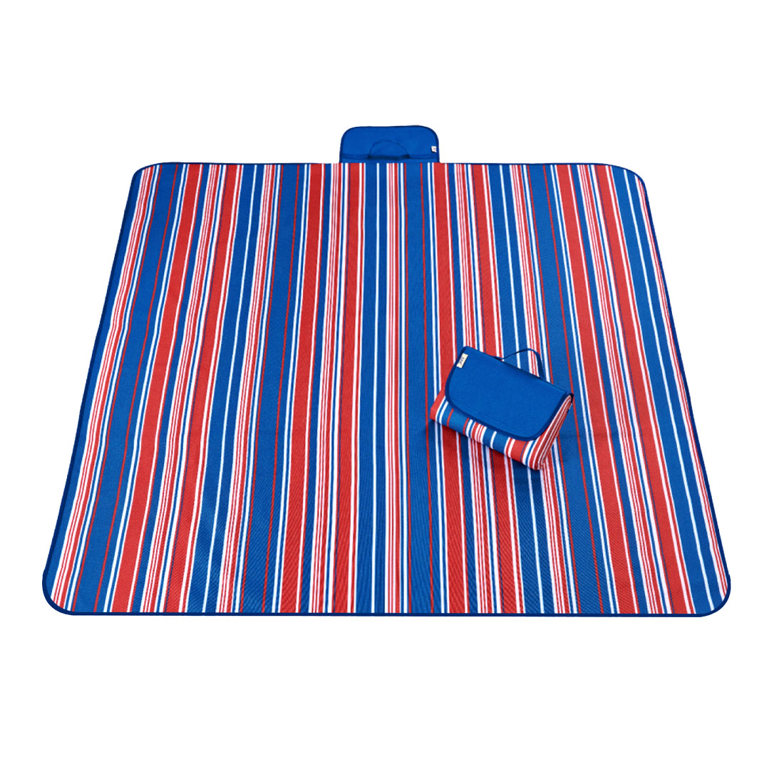 Unique Bargains Travel Camping Stripe Pattern Moisture Resistant Picnic Mat Blue 145 x 200cm