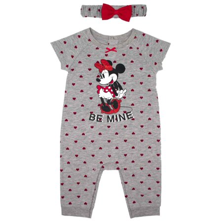 Disney Infant Girls Be Mine Valentines Outfit Minnie Mouse Coverall & Headband - Minnie Mouse Infant Outfits
