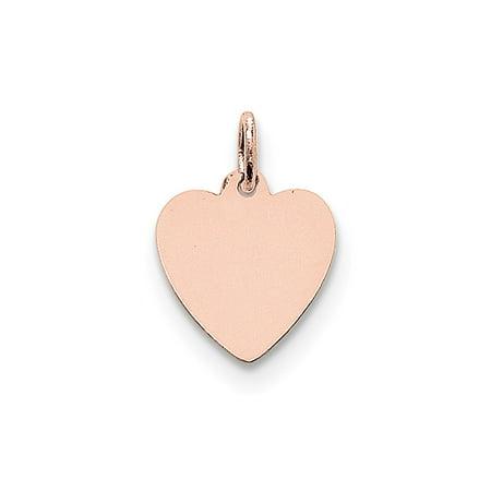 - Solid 14k Rose Gold Plain .018 Gauge Engraveable Heart Disc Pendant Charm (14mm x 18mm)