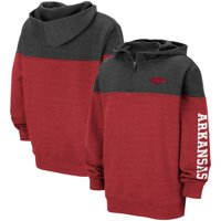 Arkansas Razorbacks Colosseum Youth Fleece Quarter-Zip Pullover Hoodie - Heathered Cardinal