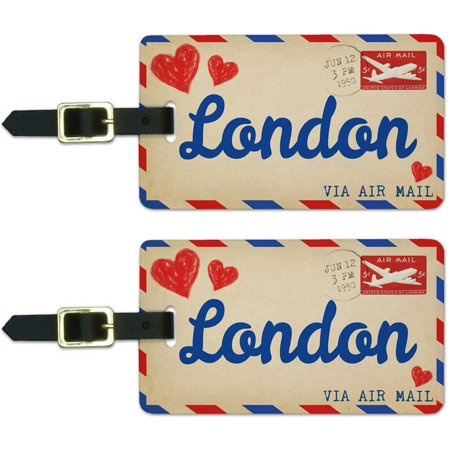 Air Mail Postcard Love for London Luggage Suitcase Carry-On ID Tags, Set of