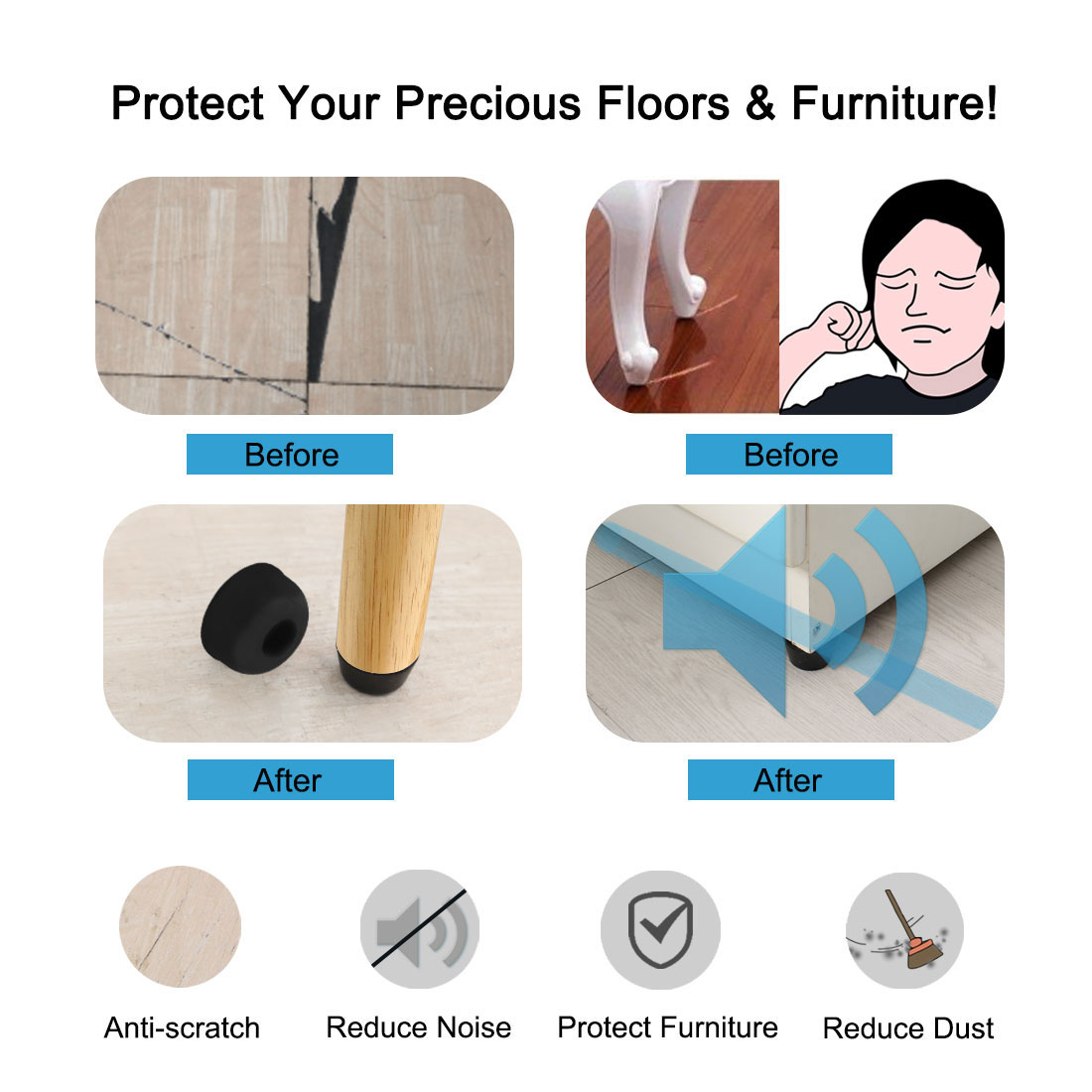 9pcs Rubber Feet Bumper Furniture Cutting Board Leg Pad Protector, D19x17xH10mm - image 4 de 7