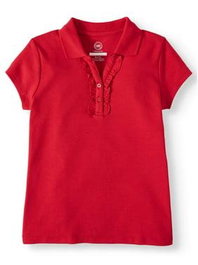 Wonder Nation Girls School Uniform Short Sleeve Ruffle Polo (Little Girls & Big Girls)