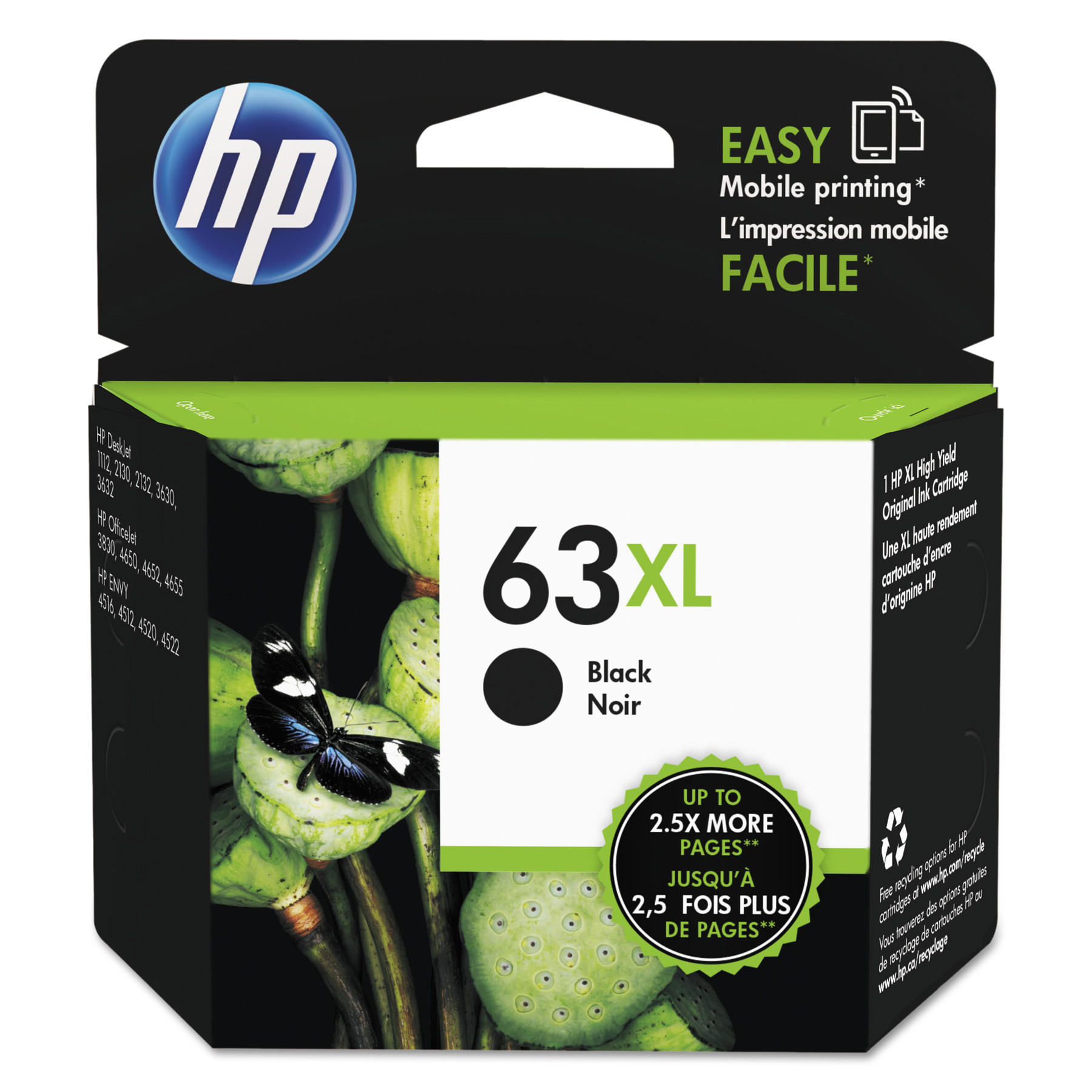 HP 63XL Black High-Yield ink cartridge (F6U64AN)