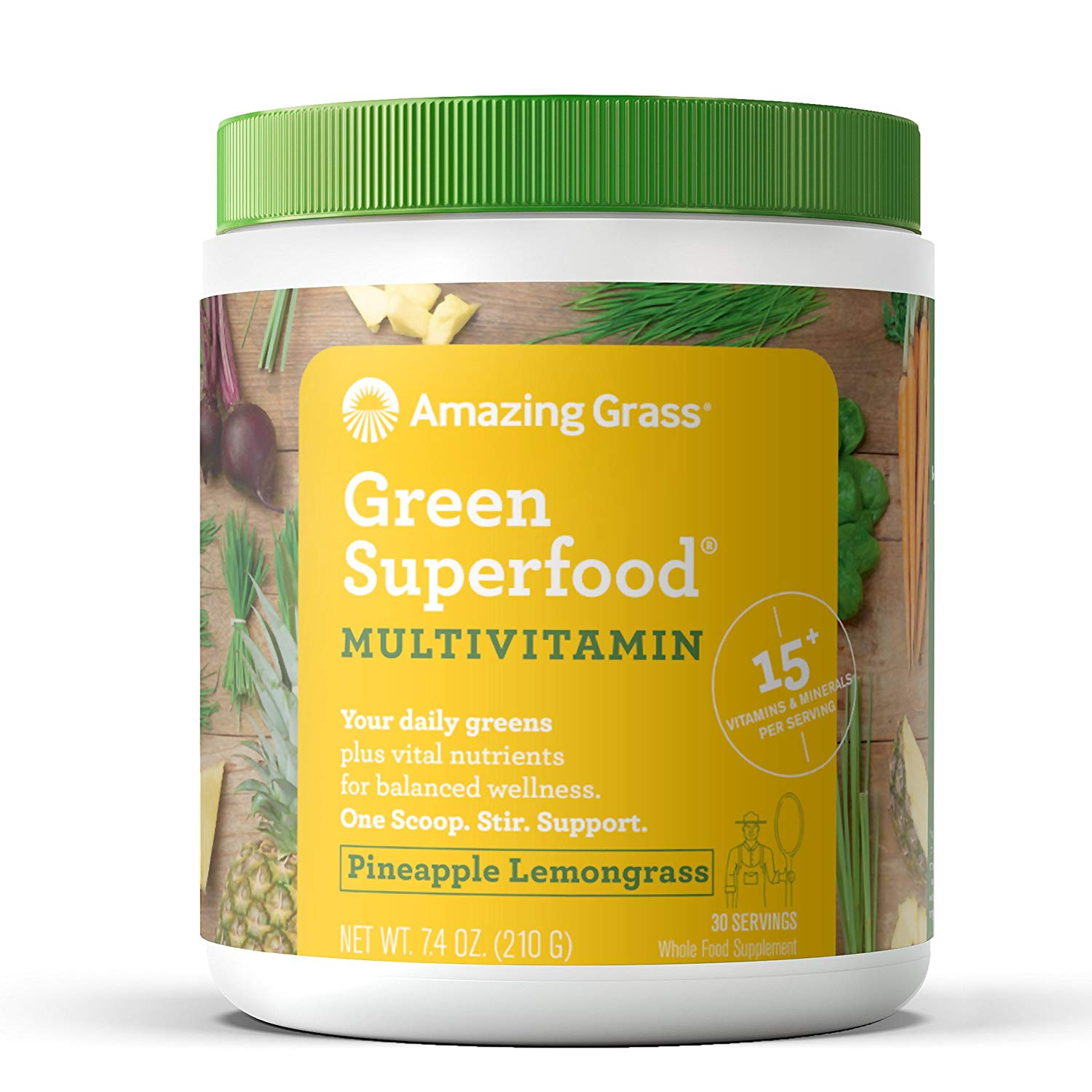 Amazing Grass Multivitamin Green Superfood Powder, Pineapple Lemongrass, 30 Servings