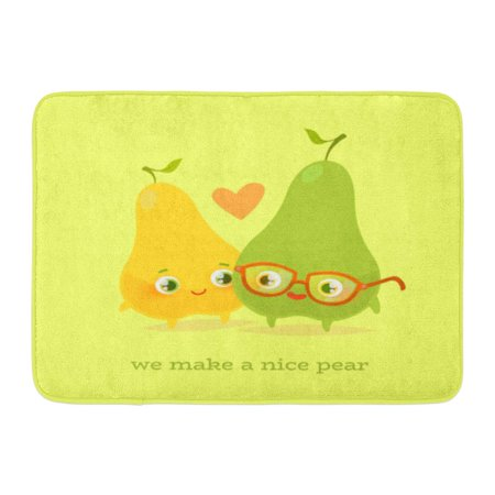 GODPOK Celebration Romantic Valentine's Day Cute Kawaii Characters Cartoon Style Funny Pun Quote Pears Childish Rug Doormat Bath Mat 23.6x15.7 inch - Cute Romantic Halloween Quotes