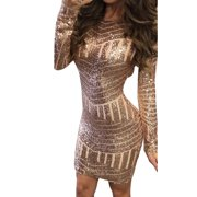 Women Sparkly Glitter Sequin Bandage Bodycon Short Mini Party Dress Lady Long Sleeve Evening Cocktail Backlesss Clubwear