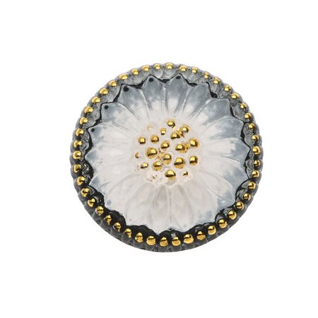 Czech Glass Flat Back Button Cabochons, Sunburst Flower 18.5mm Round, 1 Piece, Black White and Gold