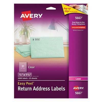 "Avery 5667 Clear Return Address Labels, 1/2"" x 1-3/4"", 2,000 Labels"