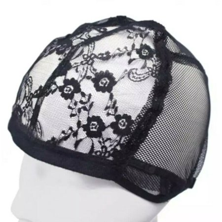 1 Pcs Black Lace Mesh Full Wig Cap Hair Net Weaving Caps For Making Wigs Adjustable