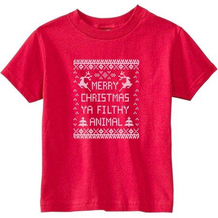 Merry Christmas Ya Filthy Animal Toddler T-Shirt ()
