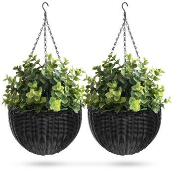 2-Set Best Choice Products Rattan Pot Hanging Planters