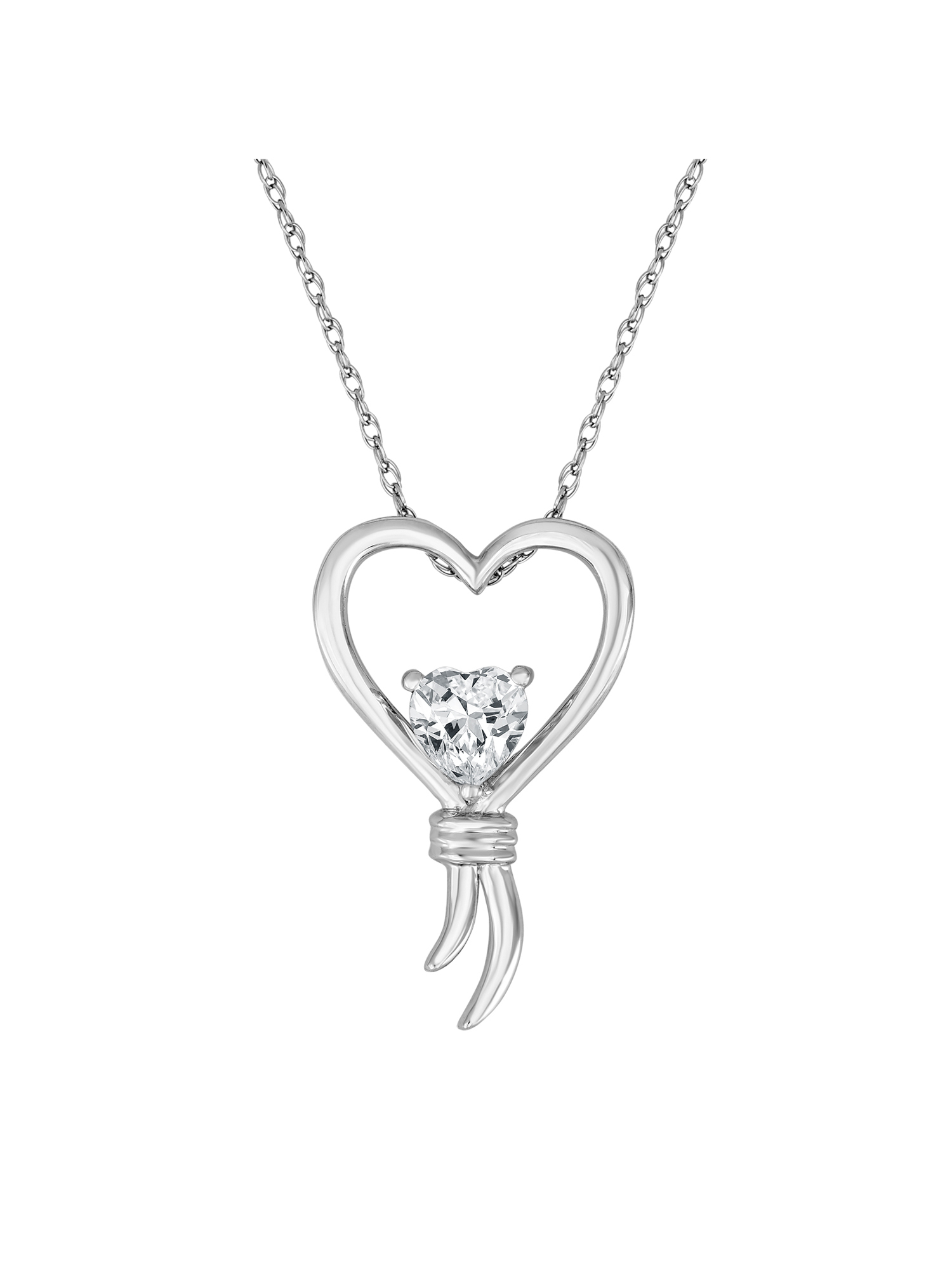 """Knots of Love Sterling Silver Lab-Created White Sapphire Heart Pendant, 18"""""""