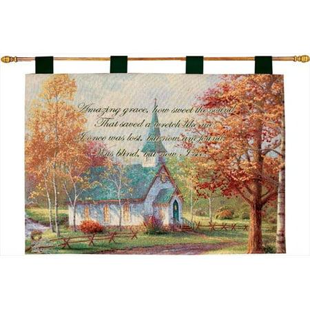 Charlotte Home Furnishings WW-7680-10737 Chapelle Aspen avec verset Kinkade Fine Art Tapisserie, Orange - image 1 de 1