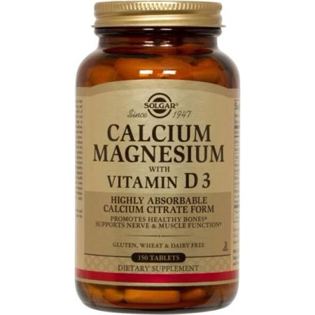 Solgar Calcium Magnesium with Vitamin D3 150 Tablets (Green Foods Magnesium Vitamins)
