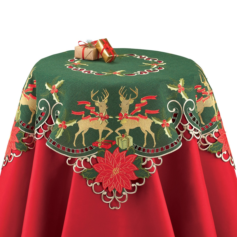 Elegant Reindeer Traditional Christmas Table Linens, Square by Collections Etc