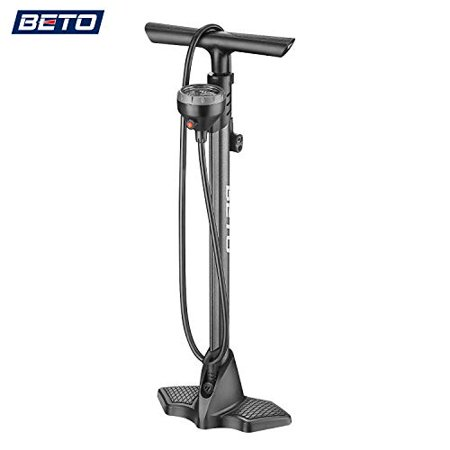 Beto Bike Pump Portable - Bicycle Floor Pump with Industrial Level Top - Mounted Gauge& Air Bleed Button -Presta Schrader Dunlop Valve Universal Steel Tube 160 Psi Max - image 1 of 1