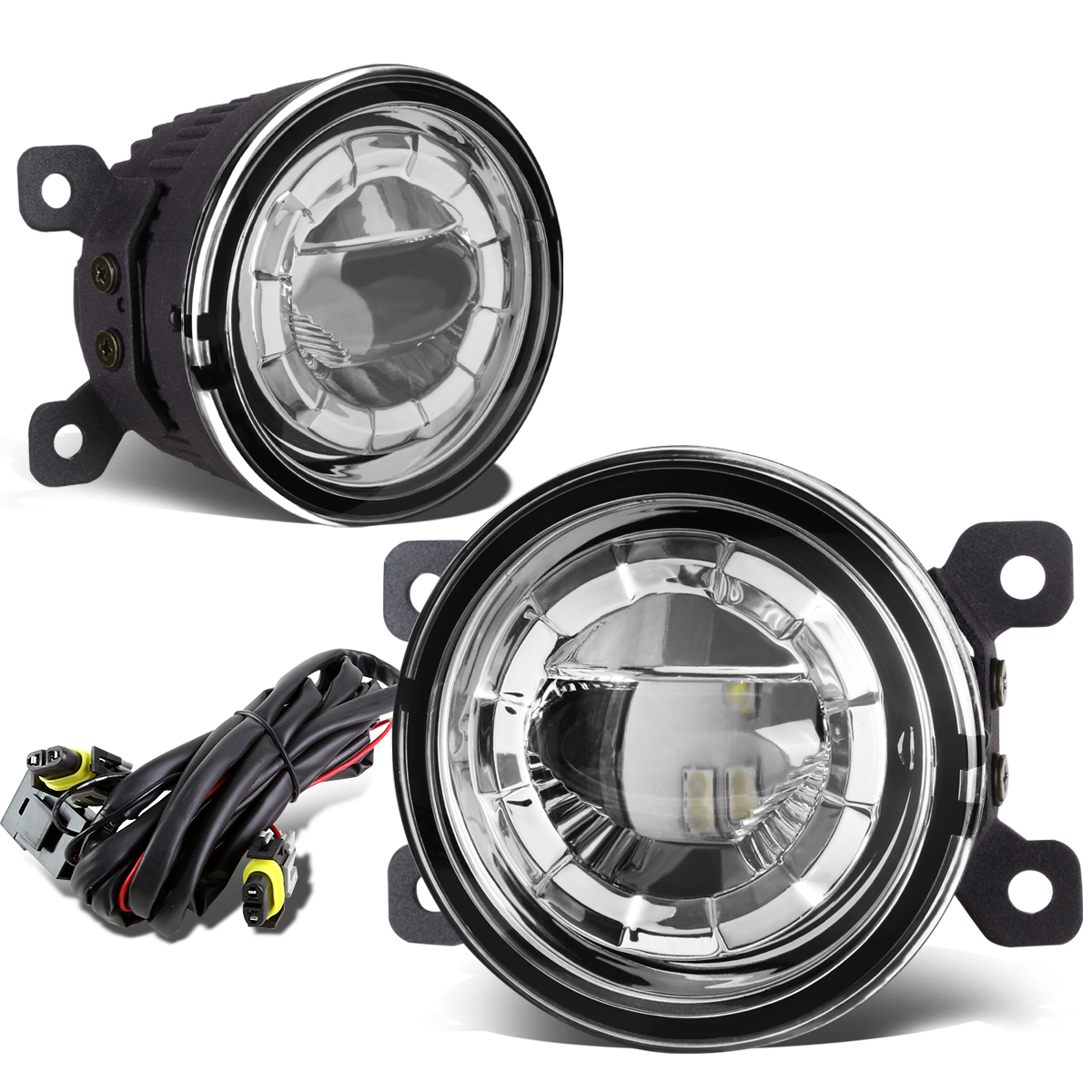 """For 08-15 Pair of 3.5"""" Round 2 x 5W LED Projector Bumper Driving Fog Lights + Wiring (Clear Lens) 09 10 11 12 13 14"""