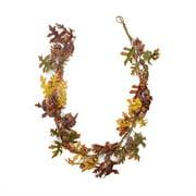 5' Glittered Acorn and Hawthorne Leaf Artificial Thanksgiving Garland - Unlit