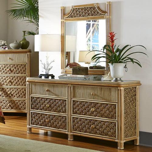 Spice Islands Wicker Mandalay 6 Drawer Dresser With Mirror