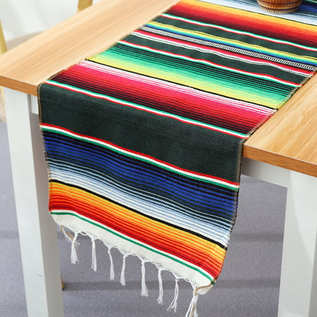 14''x108'' Mexican Table Runner Cotton Tablecloth For Weddings Birthday Party Banquets Decor Fit Rectangle and Round Table (Birthday Party Tablecloth Round)