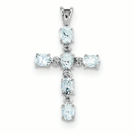 Sterling Silver Diamond and Aquamarine Cross Charm Pendant Aquamarine Religious Cross
