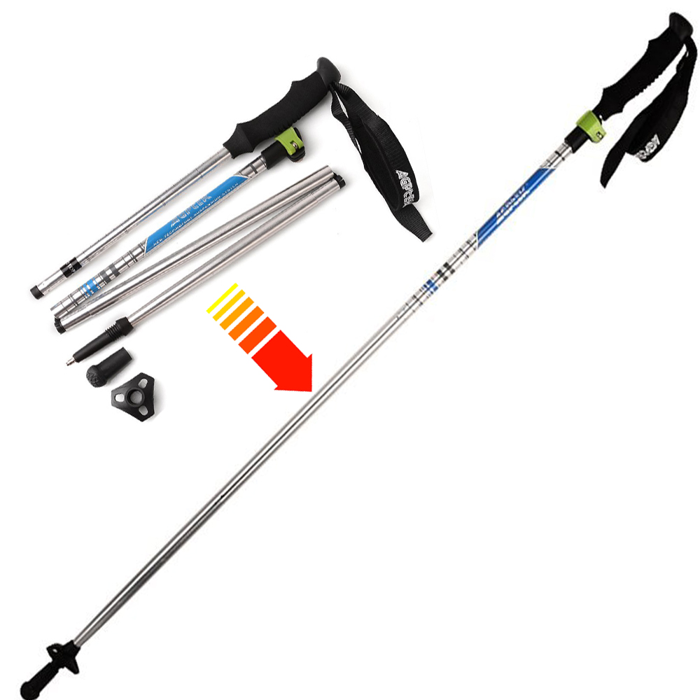 Trekking Hiking Stick Walking Pole Telescoping Adjustable Ultralight Folding 7075 Aluminum by