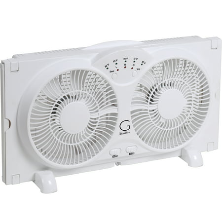 - Genesis Twin Window Fan with 9 Inch Blades, High Velocity Reversible AirFlow Fan, LED Indicator Lights Adjustable Thermostat & Max Cool Technology, ETL Certified