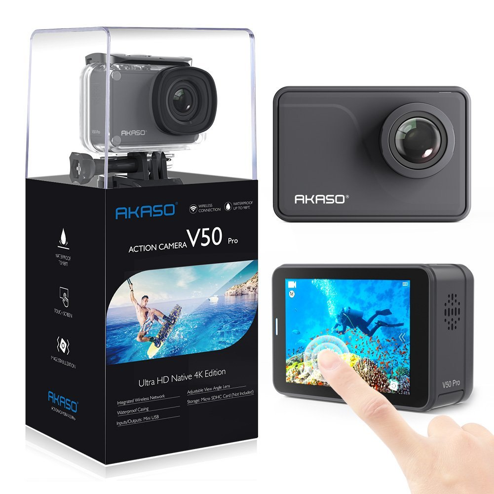 AKASO V50 Pro Native 4K/30fps 20MP WiFi Action Camera with EIS Touch Screen/30m Waterproof /Aujustable View Angle /Remote Control Sports Camera with Helmet Accessories Kit