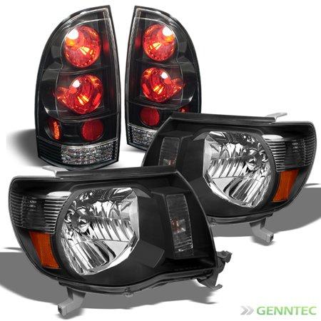 99 Toyota Tacoma Headlights - For 2005-2011 Toyota Tacoma Black Headlights + Tail Lights Lamp Head Lights Set L+R 2006 2007 2008 2009 2010