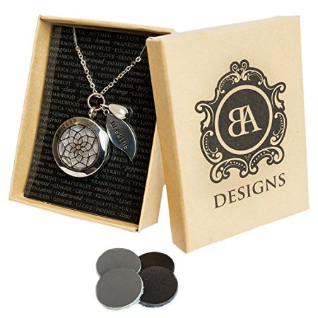 Stainless Steel Essential Oil Diffuser Necklace   Hypo Allergenic 316L Surgical Grade Stainless Steel   4 Leather Diffuser Discs   Young Living Or Doterra Oils   18 Chain With 2 Extender