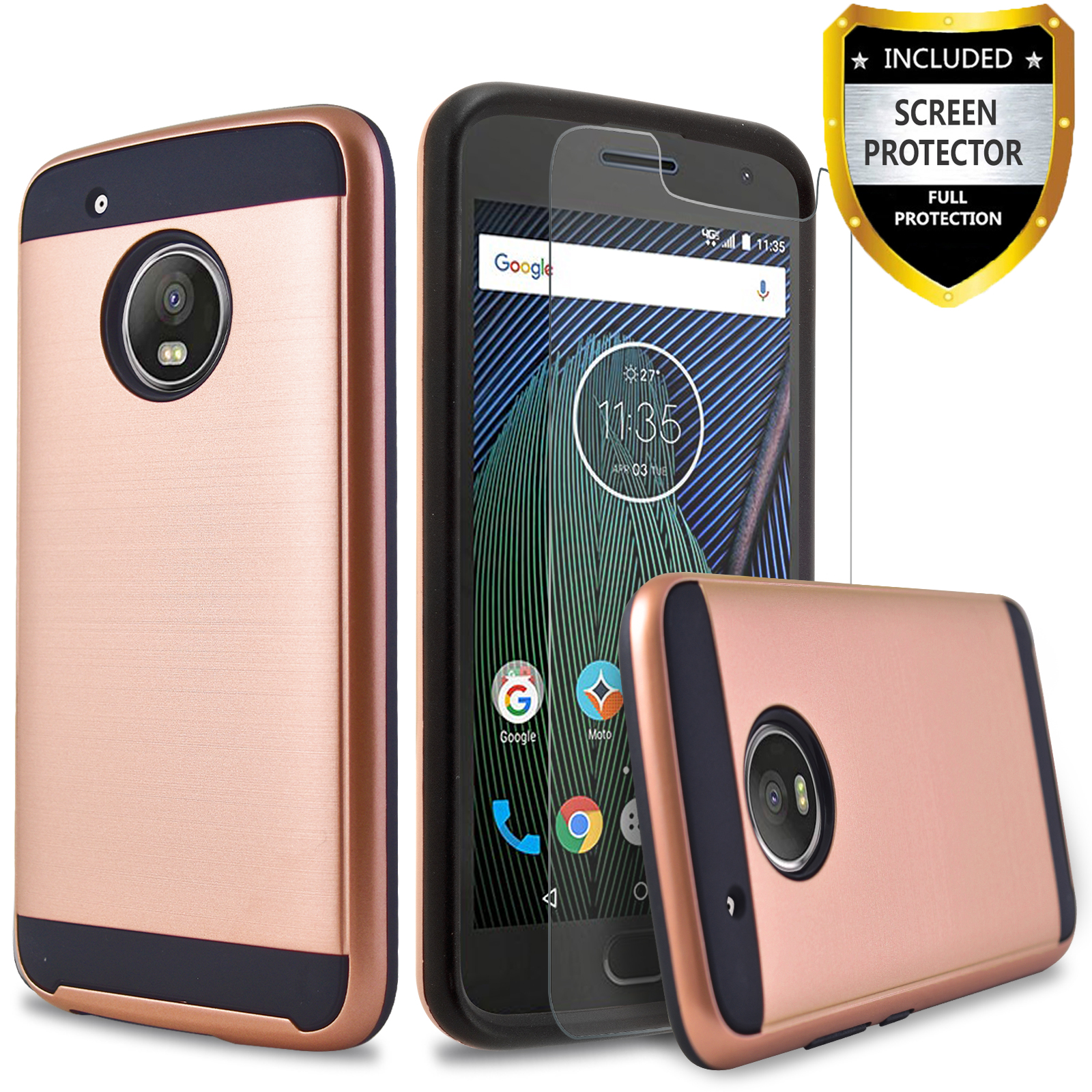 Moto G5 Plus Case, 2-Piece Style Hybrid Shockproof Hard Case Cover with [Premium Screen Protector] Hybird Shockproof And Circlemalls Stylus Pen (Black)