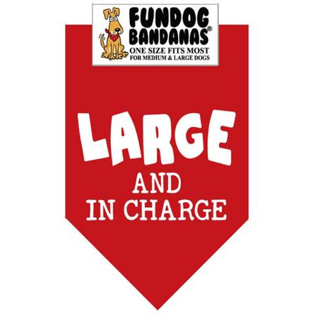 Fun Dog Bandana - LARGE & IN CHARGE - One Size Fits Most for Med to Lg Dogs, red pet - Large Bandanas
