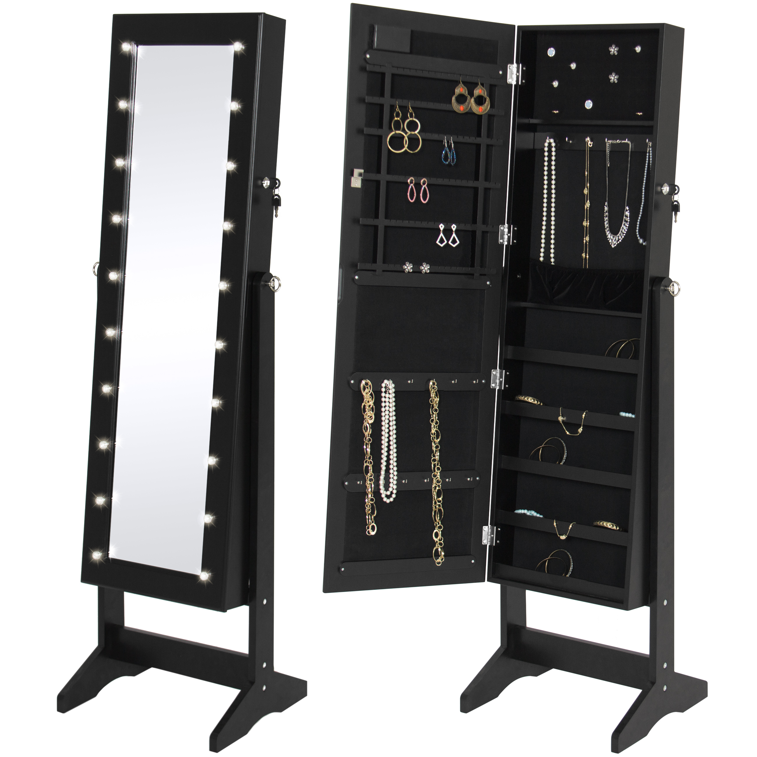 Best Choice Products LED Lighted Mirrored Jewelry Cabinet Armoire W/ Stand- Black