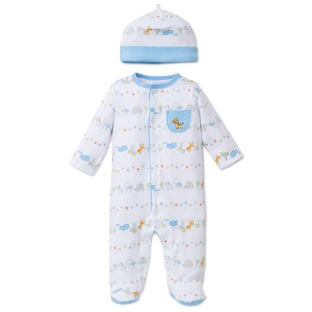 Fun Safari Snap Front Footie Pajamas with Hat For Baby Boys Sleep N Play One Piece Romper Coverall Cotton Infant Footed Sleeper; Pijamas Para Bebes- White and Blue Animal Print