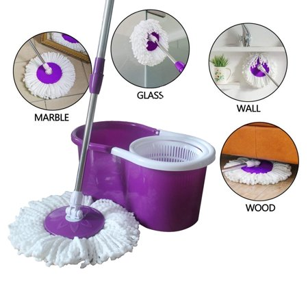UBesGoo 360 Degree Spin Bucket System Mop with Extended Length Handle and 2 Microfiber Mop Heads, Spin Mop and Bucket Floor Cleaning System (Bright Purple)