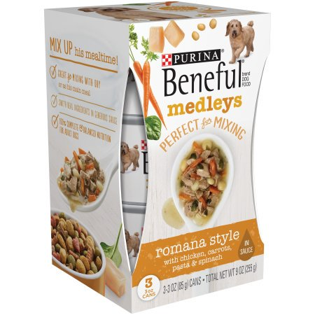 (8 Pack) Purina Beneful Medleys Romana Style Wet Dog Food, 3-Oz, Pack of 3