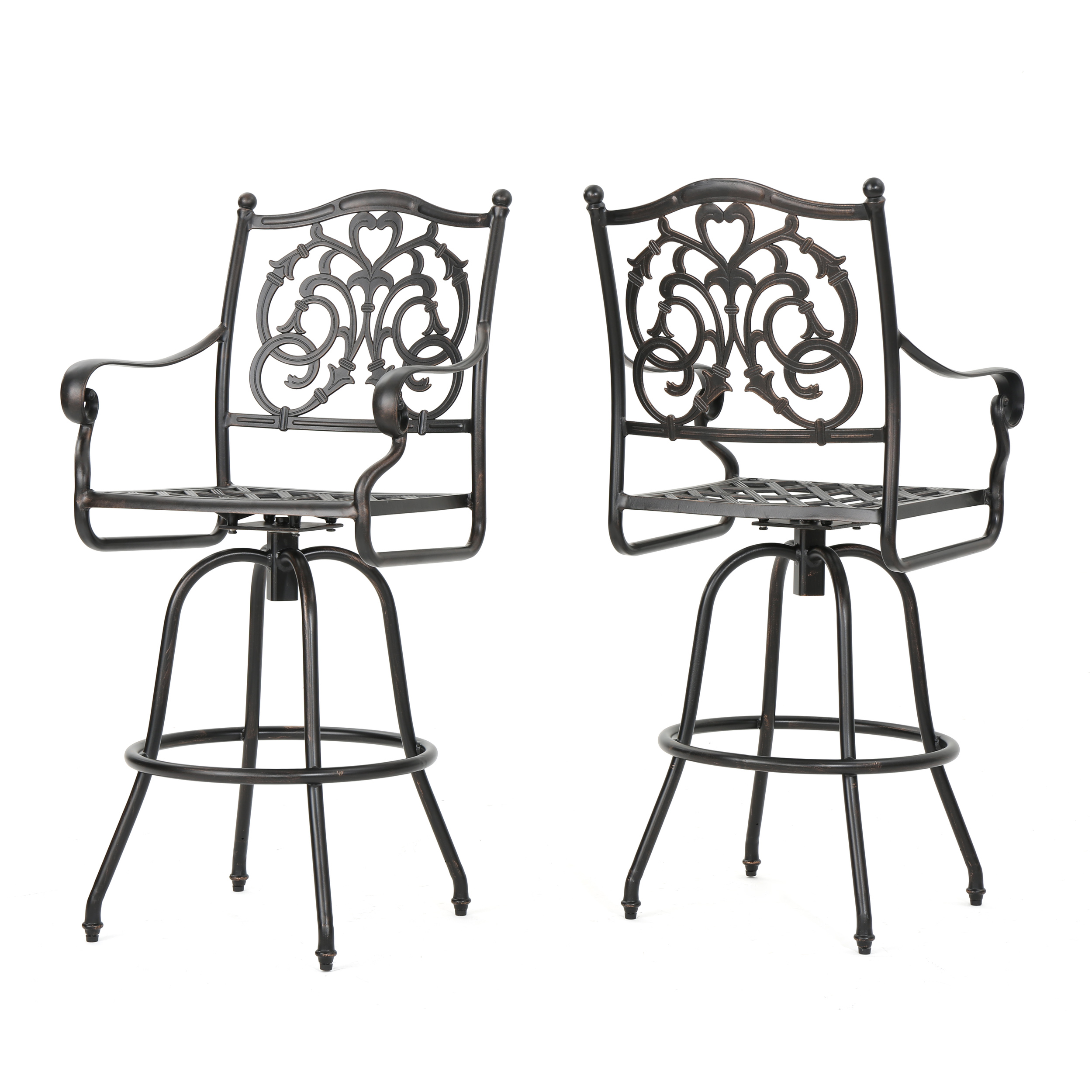 "Denise Austin Home Ridley Cast Aluminum Outdoor 29"" Bar Stool (Set of 2)"