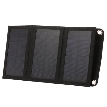10W/5V Portable Solar Charger With USB Port Foldable 5 Solar Panel Camping Hiking Travel Compact Solar Power Phone Charger For Tablet Laptop Cellphones Black - image 5 of 7